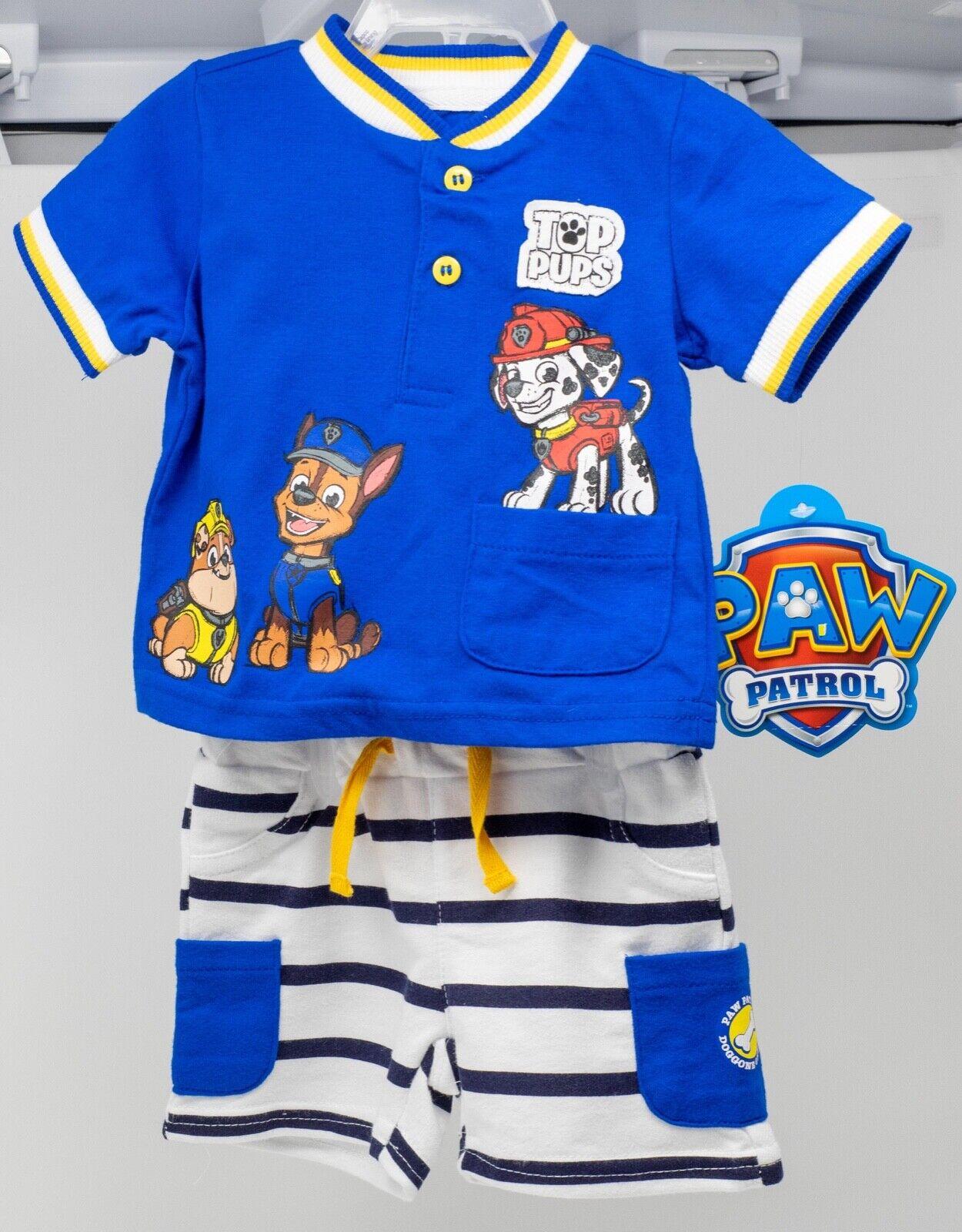 Paw Patrol Baby Boy Outfit NWT Disney Shorts Shirt Blue NB 6