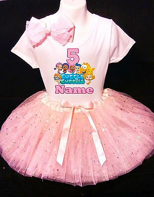 Bubble Guppies 5th Birthday dress--With NAME-- party Tutu outfit (Bubble Guppies Dress)