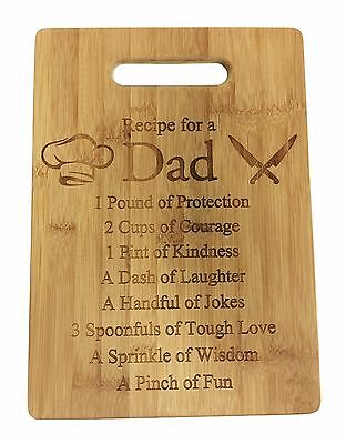 Laser Engraved Bamboo Cutting Board - Recipe for Dad Bamboo Wood Cutting Board New Gift Father's Day Laser Engraved