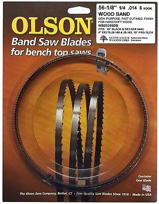 """Olson Band Saw Blade 56-1/8"""" inch x 1/4"""", 6TPI for Delta 28-180, 28-185 & others"""