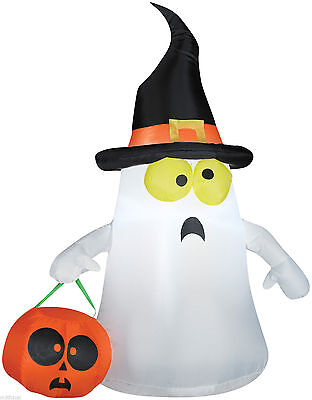3.5' Gemmy Ghost With Witch Hat Airblown Inflatable Outdoor Yard Decoration