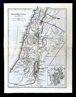 1871 Classical Map Ancient Palestine Jerusalem Judea Samaria Middle East Israel