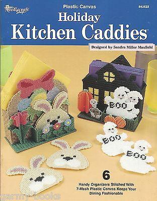Holiday Kitchen Caddies Coasters Organizers Plastic Canvas Patterns TNS NEW