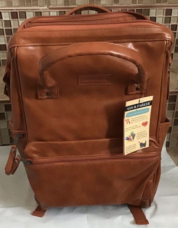 Ash & Parker Vegan Leather Diaper Backpack, Unisex, Large, Saddle Brown New