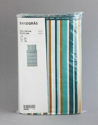 IKEA RANDGRÄS Bettwäsche Set grün gestreift Lyocell 140x200 cm   NEU