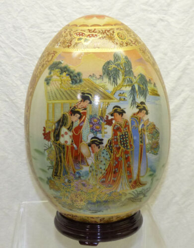 """Decorative Asian Oriental 10"""" Porcelain Satsuma Egg w/ Lacquered Wood Stand"""