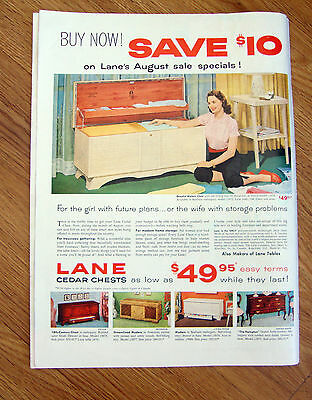 1954 Lane Cedar Hope Chest Ad   For the Girl weith Future Plans  - Hope Chest Plan