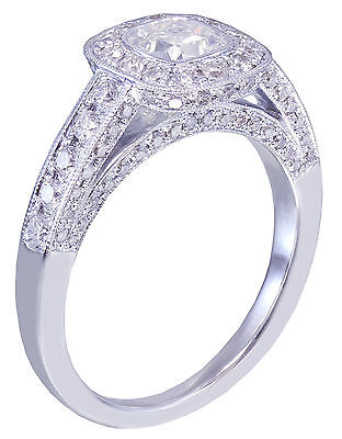 GIA D-SI1 14k White Gold Cushion Cut Diamond Engagement Ring Bezel Deco 1.70ctw 3
