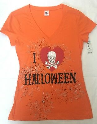 "Juniors V-Neck Graphic Glitter T-Shirt ""I Love Halloween""Orange Medium New](Glitter Graphics Halloween)"