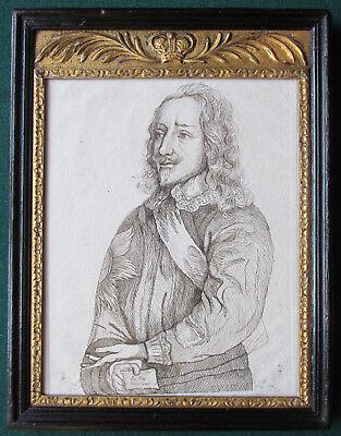 18th Century Georgian Antique Engraving of King Charles I Stuart of England