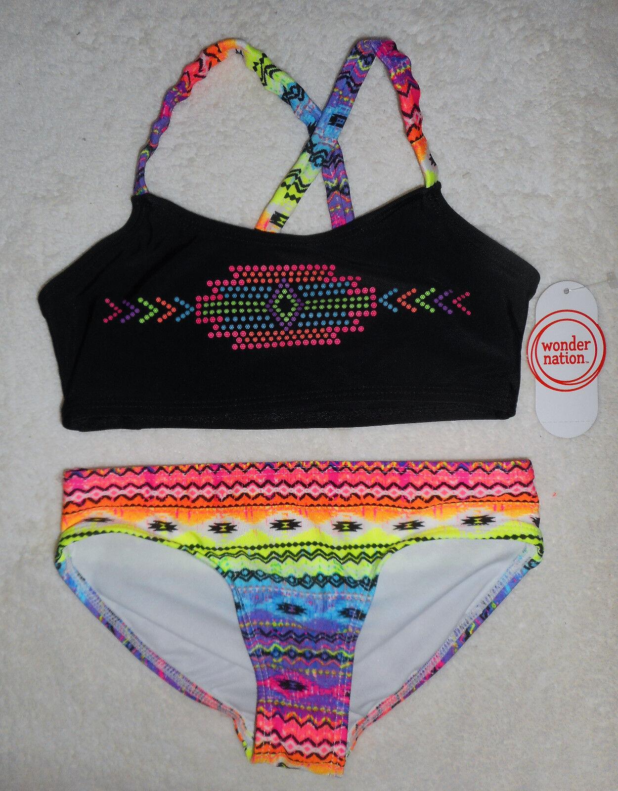 Mädchen 👣 Bikini Badeanzug 👣 2tlg 👣 SCHWARZ 👣 bunt