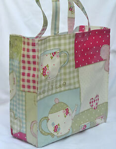 Handmade Quality Oilcloth Shopping Tote bag with zip pocket - Tea Time