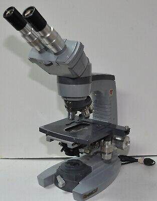 American Optical Ao Spencer 10-8 Binocular Microscope W 4 Objectives Illuminato