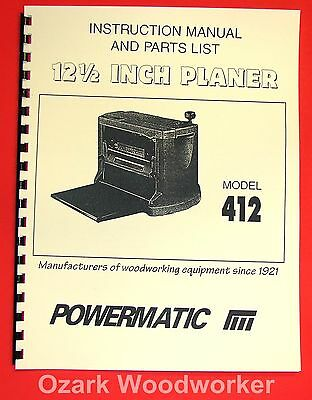 Powermatic Model 412 12.5 Wood Planer Instructions And Parts Manual 1038