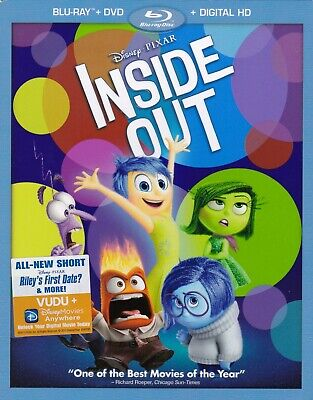 Disney/Pixar: Inside Out (Blu-ray/DVD, 2015, 3-Disc + Digital HD) w/slipcover