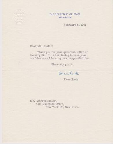SIGNED 1961 JFK & LBJ SECRETARY OF STATE DEAN RUSK LETTER