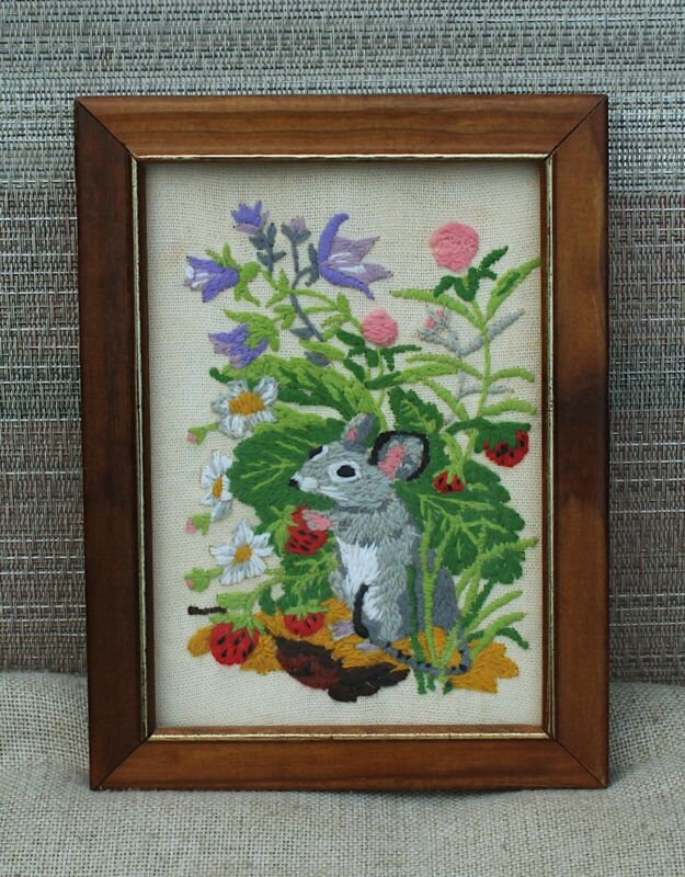 """Mouse in Flowers Eating Strawberries Framed Crewelwork Embroidery Small 6""""x8"""""""