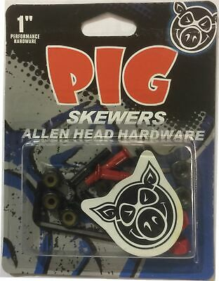 """Pig Skewers 1"""" Allen Skateboard/Skate Directional Hardware/Bolts Red/Black"""