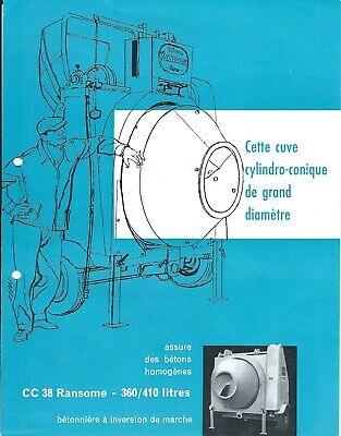 Equipment Brochure - Ransome Cc 38 Betonniere Cement Mixer C1959 French E5633