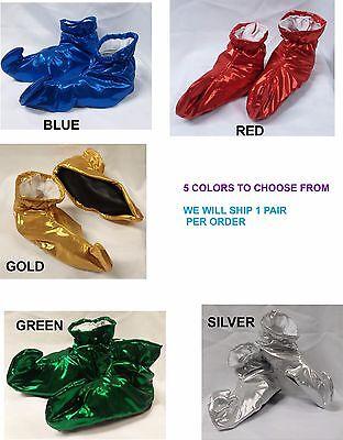 Metallic Lamé Cloth Elf Shoes Genie Curly Toes Kids Size  Costume - Elf Shoes Kids