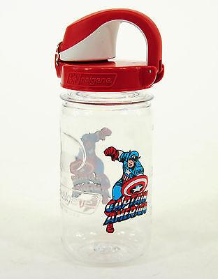 Nalgene Kids On The Fly 12 Oz  Water Bottle  Clear Red Marvel Captain America