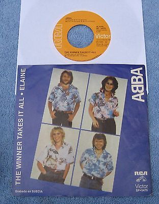 "Abba  - The Winner Takes It All/Elaine -  Mexican Picture Sleeve PS 7"" single"