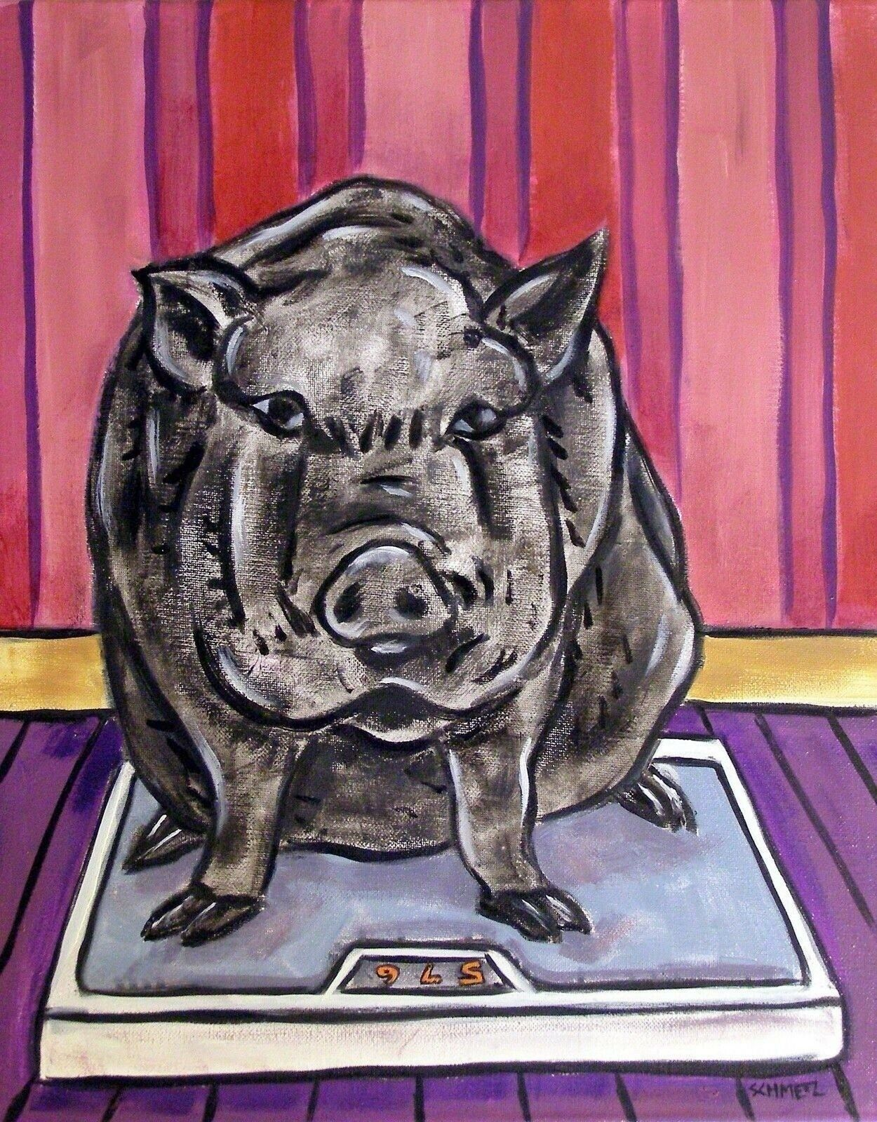 black PIG DIET painting 4x6 GIFT abstract modern bathroom ...