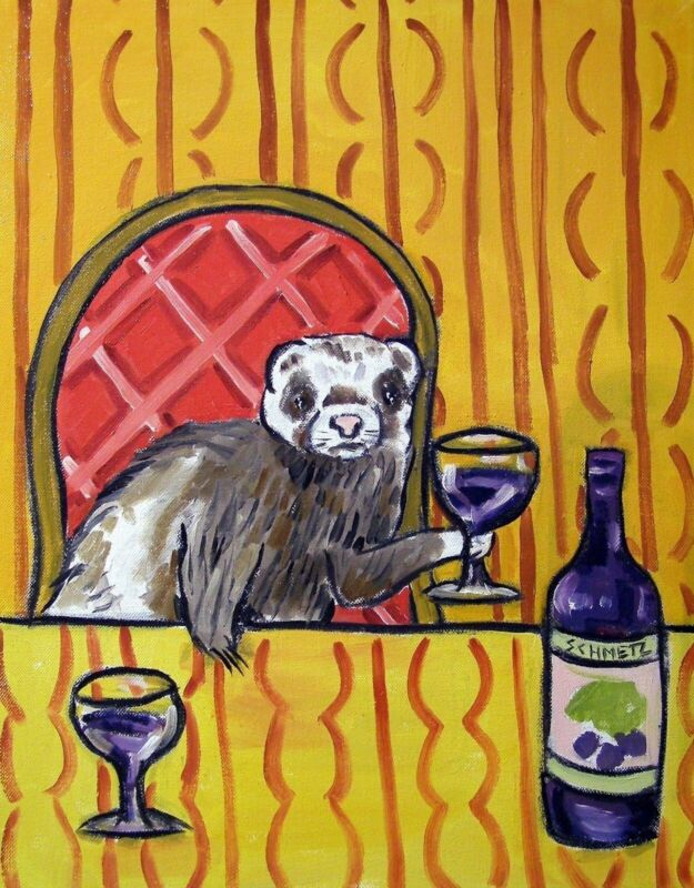 ferret wine  art PRINT 11x17 glossy photo finish JSCHMETZ