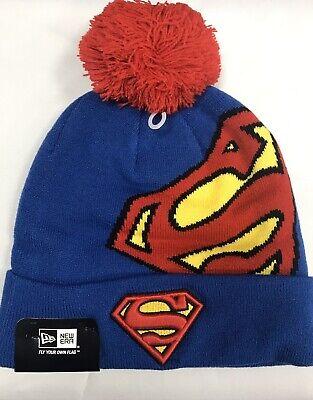 New Era Superman Hero Over Logo bobble Pom Pom Hat Beanie Blue/Red