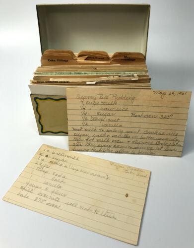 VTG Ohio Art Co. Tin Recipe Holder Box & 60+ Handwritten and Clipped Recipes