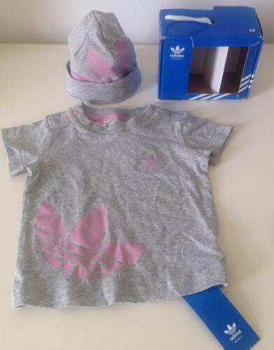 Adidas Baby Gift Set NEU OVP Gr.68 T-Shirt Mütze Mädchen Girl Grau Rosa Pink