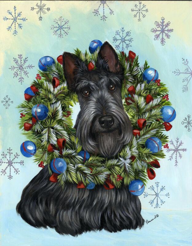 "Precious Pets Garden Flag - Scottie Snowflake 12"" x 18"" ~ Charity!!"