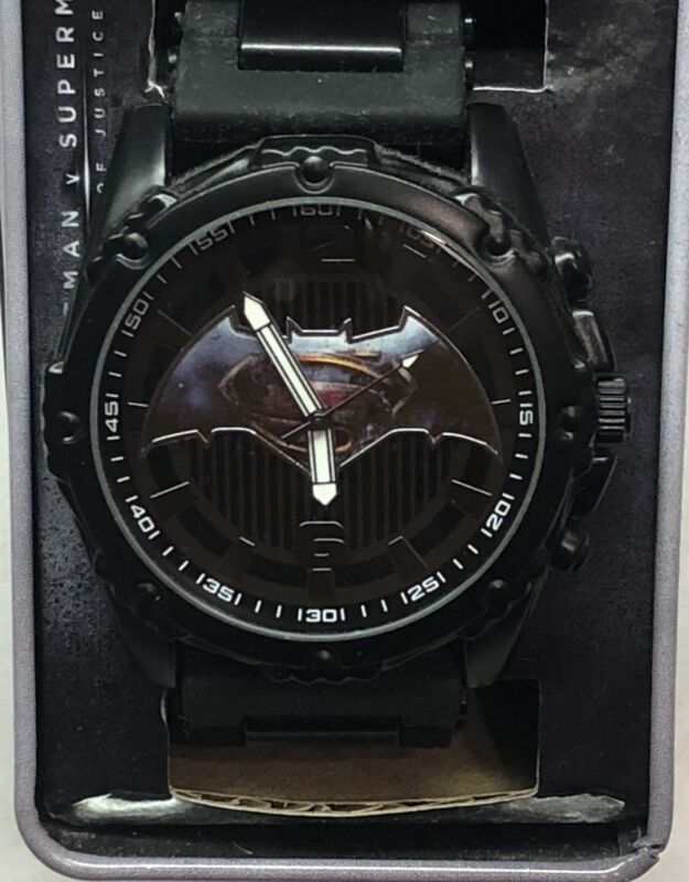 Batman vs Superman DC (ALL BLACK) Analog Watch Collectable Tin Case Adult New