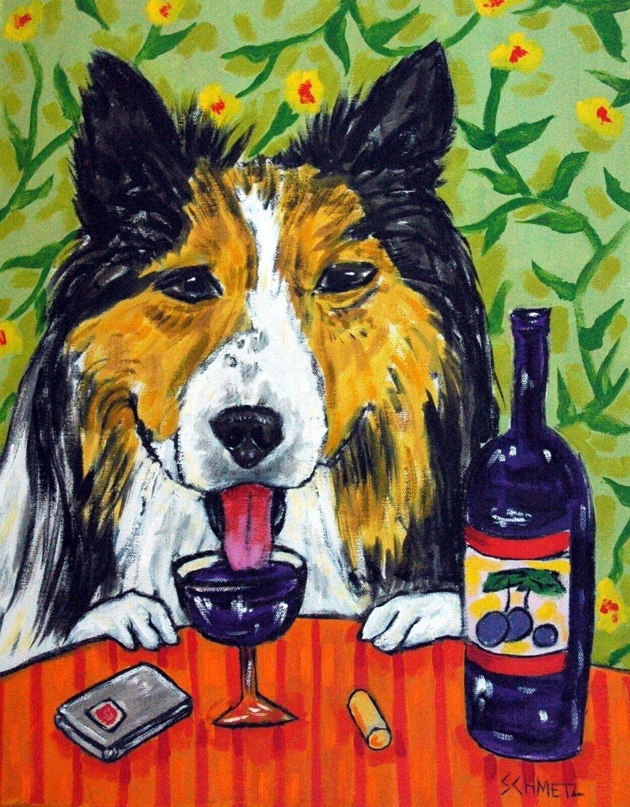 Whippet at the Wine Bar Dog Art  4x6  GLOSSY PRINT