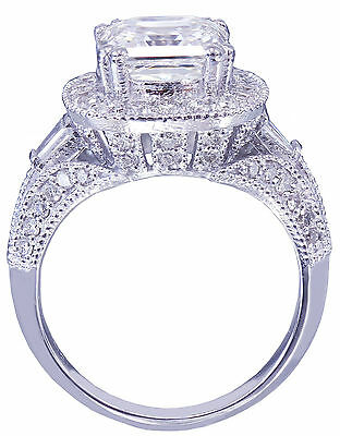 GIA I-VS2 18k White Gold Asscher Cut Diamond Engagement Ring Etoile Deco 2.85ctw 4
