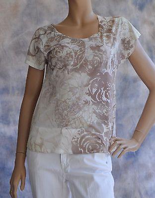 NWOT COLDWATER CREEK Sz M 10-12 T Shirt Blouse Light Weight Beige Neutral Floral
