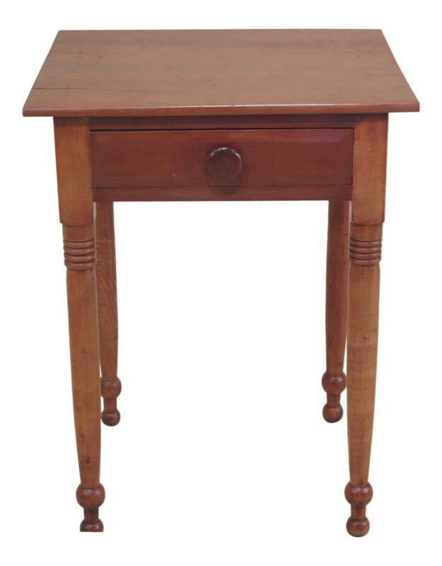 F48380EC: Antique Country Cherry 1 Drawer Farm Table Nightstand