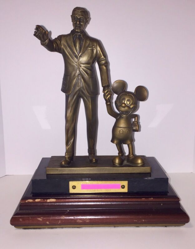Walt Disney World Cast Member Award. Walt & Mickey Bronze Statue 1999