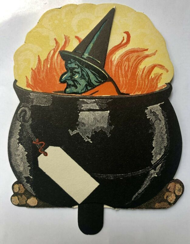 1920's Dennison Halloween Witch Cauldron Mechanical Tally Antique Unused Works