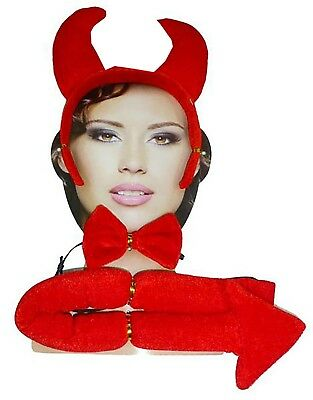 Womens Red Devil Tie Ear and Tail Set Ladies Halloween Hen Night Party Accessory](Devil Ears And Tail)