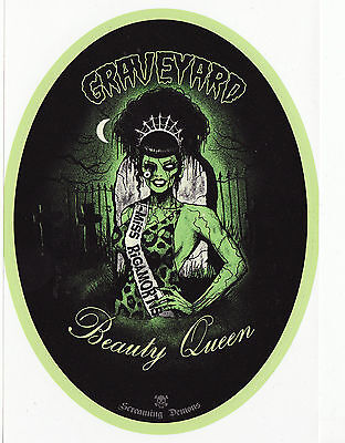 PSYCHOBILLY ZOMBIE BEAUTY PROM QUEEN TIARA HORROR B-MOVIE VINYL OVAL STICKER - Zombie Beauty Queen