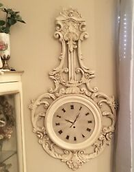 Vintage Shabby Chic Carved Barbola Roses, Leaves and Scrolls Wall Clock
