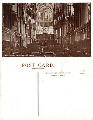 1920's THE CHOIR CANTERBURY CATHEDRAL CANTERBURY KENT UNUSED POSTCARD