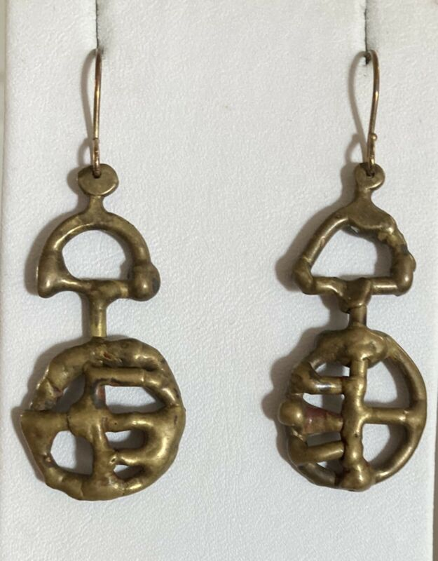 Jack Boyd Modernist Brutalist Bronze Long Earrings~ So Hard To Find!