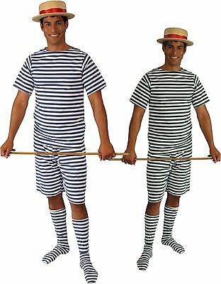 1800s Old Fashion Bathing Suit Green, Blue OR Red White Stripe Adult Men Costume