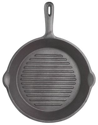 KitchenCraft Deluxe Cast Iron 24cm Round Ribbed Grill