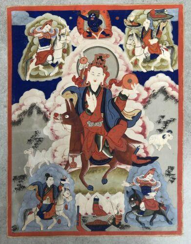 Antique beautiful SIGNED Sino-Tibetan or Mongolian Thangka (Tangka).