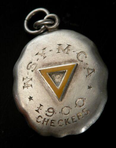 Rare Vtg John Frick Sterling Enamel YMCA 1900 CHECKERS Metal Pendant
