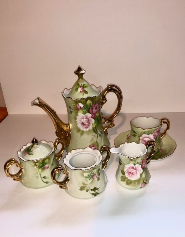 Vintage Lefton Heritage Green (Rose) Tea Service Set, 5 pieces