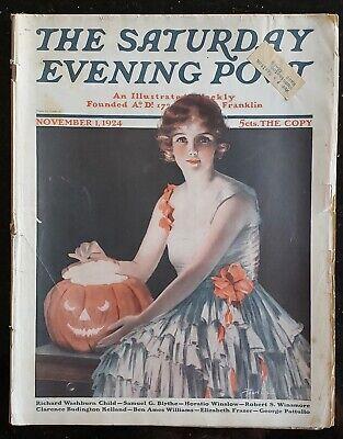 ORIGINAL MAGAZINE NOVEMBER 1st, 1924, SATURDAY EVENING POST HALLOWEEN ISSUE.
